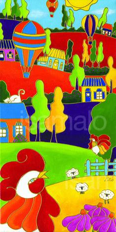 Le coq et les montgolfières par Isabelle Malo • Acrylique sur toile • Folk art  • www.isamalo.com • Artiste peintre du Québec •Art naïf