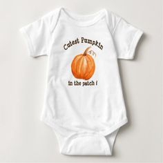 Cutest Pumpkin Personalized Baby Bodysuit - thanksgiving day family holiday decor design idea