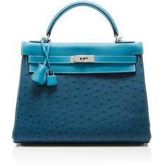 Heritage Auctions Special Collection Hermes 32cm Blue Jean, Colbalt &... (170.105 BRL) ❤ liked on Polyvore featuring bags, handbags, ostrich purse, ostrich bag, shoulder strap handbags, top handle bag and blue handbags