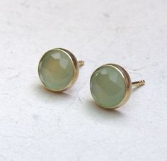 Aquamarine chalcedony Gold earrings studs Recycled 14k by OritNaar, $95.00