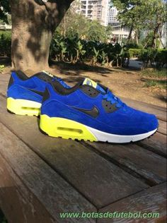 competitive price 0fccf 7f432 Royal Azul Branco Amarelo Nike Air Max 90 Masculino chuteiras venda