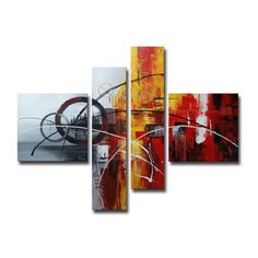 Hand-painted 'Abstract540' 4-piece Gallery-wrapped Canvas Art Set - Overstock™ Shopping - Top Rated Canvas