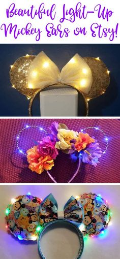14 Amazing Light Up Mickey Ears for your Disney Summer - This Fairy Tale Life 14 Amazing Light Up Mickey Ears for your Disney Summer Disney Diy, Diy Disney Ears, Disney Mickey Ears, Disney Crafts, Diy Mickey Mouse Ears, Micky Ears, Disneyland Ears, Disneyland Vacations, Disney Headbands