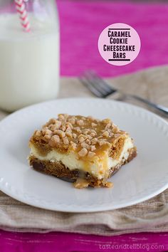 Caramel Cookie Cheesecake Bars- Completely decadent and rich, these Caramel Cookie Cheesecake Bars are sure to quench your cookie and cheesecake cravings. Cookie Cheesecake, Cheesecake Recipes, Cookie Recipes, Dessert Recipes, Cookie Bars, Caramel Cheesecake, Bar Recipes, Banana Cheesecake, Turtle Cheesecake