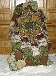 hunter outdoorsman blanket rag quilt cotton flannel by lilmopeep1, $125.00