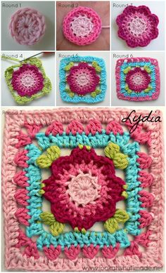 "Jack and Lydia are two 4"" crochet squares, designed to compliment Sophie's Universe (CAL 2015)"