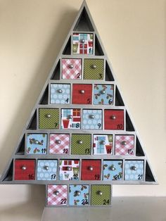 Silver red green Christmas Advent Calendar Wooden Tree- Ready to ship! Advent Calendar For Men, Advent Calendar Fillers, Cool Advent Calendars, Homemade Advent Calendars, Christmas Tree Advent Calendar, Wooden Advent Calendar, Diy Calendar, Diy Holiday Cards, Wooden Tree