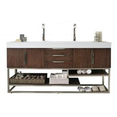 James Martin Signature Vanities Columbia 72 in. W Double Vanity in Coffee Oak with Solid Surface Vanity Top in White with White Basin