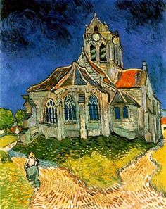 Van Gogh Church. i've never seen this Van Gogh but oh isn't it breathtaking!<---They've never seen Doctor Who.