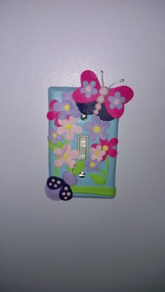 Butterfly and flower Light switch cover for kids room made with Fimo