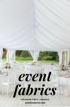 Create the perfect tent drape effect with fabrics from Scenicsource Fabrics Inc. Prom Decor, Church Wedding Decorations, Church Decorations, Wedding Church, Event Planning Business, Business Ideas, Wedding Planning, Tent Reception, Wedding Reception