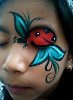 Ladybug Birthday Party Face Paint and Makeup Ideas Girl Face Painting, Face Painting Designs, Painting For Kids, Paint Designs, Body Painting, Face Paintings, Costume Makeup, Party Makeup, Kids Makeup
