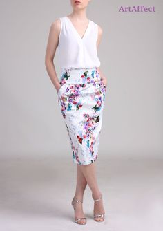 High Waist Pencil Skirt with Pocket - Butterfly with Flower by artaffect on Etsy https://www.etsy.com/listing/224337819/high-waist-pencil-skirt-with-pocket