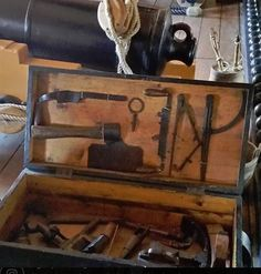 Carpenter's Tool box on board HMS Victory at Portsmouth historic docks Building Windows, Hms Victory, Carpenter Tools, Portsmouth, Joinery, Tool Box, Woodworking Tools, Board, Home Decor