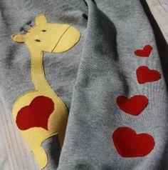 Babygiraffe mit ganz vielen Herzchen - Applikationsvorlage via Makerist.de