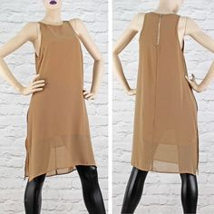 Simple camel double layer dress from Glamorous. £18.99 sizes 8-14. Wear with a belt and your favourite jewellery.  CLICK HERE TO SHOP ONLINE >>> http://www.pinkcadillac.co.uk/Glamorous-Stone-Sleeveless-Sp…