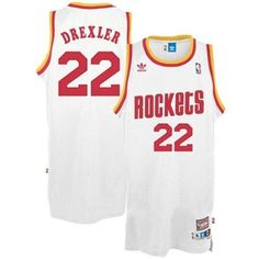 a47174aa607b Adidas NBA Houston Rockets 22 Clyde Drexler Throwback Soul Swingman White  Jersey