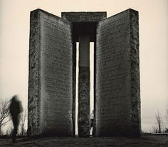 Georgia Guidestones - this stone structure of five 16-feet-tall, 20-ton slabs of polished granite is inscribed in eight languages – including Egyptian Hieroglyphics, Hindi and Swahili – with instructions for dazed post-apocalyptic survivors attempting to rebuild civilization. The Georgia Guidestones were commissioned by an anonymous group, whose identity remains a mystery.