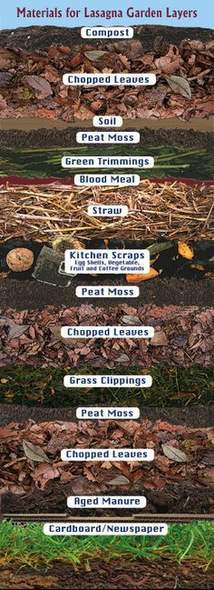 Materials for organic gardening & good compost . & Lasagna Gardening Layers - no dig gardening! Just layer and plant - this creates it's own soil even where there is none. Garden Compost, Garden Soil, Edible Garden, Garden Beds, Garden Landscaping, Compost Soil, Composting, Permaculture Garden, Dig Gardens