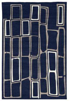 Judy Ross Hand-Knotted Custom Wool Procession Rug midnight/smoke silk/cream