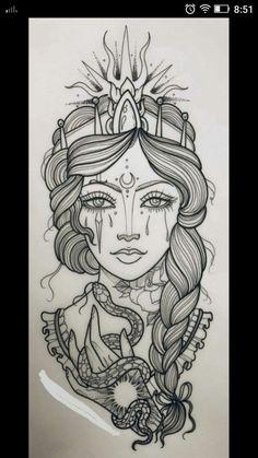Dark Art Drawings, Tattoo Design Drawings, Art Drawings Sketches, Tattoo Sketches, Tattoo Designs, Leg Tattoos, Body Art Tattoos, Girl Tattoos, Small Tattoos