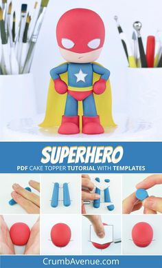 Superhero Cake Topper Pdf Tutorial With Templates - pinupi love to share Creative Cake Decorating, Cake Decorating Tools, Creative Cakes, Fondant Figures, Superhero Cake Toppers, Avenger Cake, Cake Topper Tutorial, House Cake, Fondant Toppers