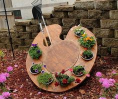 This would be a cute idea for herbs with colored pots and outline the hole in…