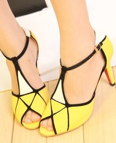 Morpheus Boutique  - Yellow Color Block T Strap Heels Celebrity Shoes, CA$133.32 (http://www.morpheusboutique.com/yellow-color-block-t-strap-heels-celebrity-shoes/)