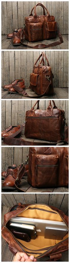 LISABAG--Handmade Vintage Genuine Men's Leather Briefcase Messenger Bag 15'' Laptop Bag Travel Bag NZ03