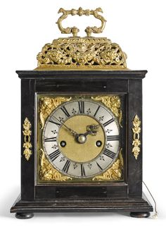 A William & Mary ebony and ebonised quarter repeating basket top table clock, Jonathan Lowndes, London, circa 1690 Father Time, Cherub, Two By Two, Auction, Tic Toc, Clocks, Tulips, Table, Tulip