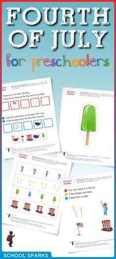 Free Fourth of July worksheets to help young children develop important school-readiness skills.
