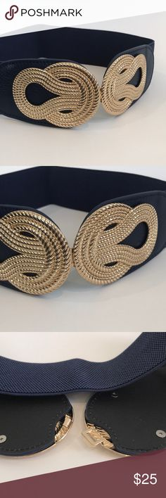 "Stretch Belt - Navy w/Gold Front-Close Buckle Such a versatile belt!  Wear over tops or dresses to add a little flair and change the look of your outfit.  Belt measures 13"" lying flat, so would fit a 26"" - 29"" waist comfortably. Accessories Belts"