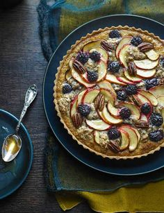 Butterscotch, apple and blackberry crumble tart. DOUBLE CREAM EQUIV-heavy cream. General rule- use unsalted butter for cakes, pastries and desserts