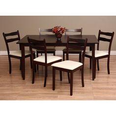 Freshen up the dining room with a seven piece set of stylish oak     Freshen up the dining room with a seven piece set of stylish oak dining  furniture  This set includes a roomy table  and six chairs upholstered in d