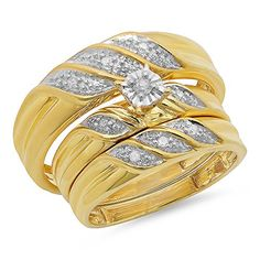 0.12 Carat (ctw) Yellow Gold Plated Sterling Silver Round Diamond Men's & Women's Wedding Trio Set
