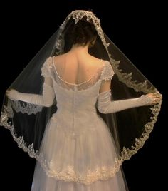 Oh so romantic French Lace Full Mantilla Fingertip Length Wedding Veil - Affordable Elegance Bridal - Lace Weddings, Wedding Veils, Wedding Dresses, Bridal Veils, Wedding Cakes, Mantilla Veil, Affordable Bridal, My Perfect Wedding, Wedding Trends