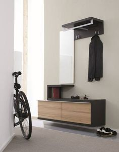 Furniture, Simple Modern Minimalist Entryway Table Cnlothing Hooks And  Mirror Combined With Bookshelf For Narrow Modern Entryway Design With White  Interior ...