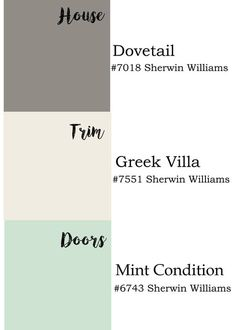 Exterior paint colors by Sherwin Williams: dovetail, Greek villa and mint condition. Rever trim and exterior colors.