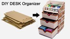 diy organizador How to Make a Stationary /DIY Desk Organizer Using Cardboard Cardboard Organizer, Cardboard Storage, Diy Storage Boxes, Cardboard Crafts, Cardboard Boxes, Storage Ideas, Stationary Box, Stationary Organization, Desk Organization Diy
