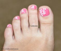 Easy Lace Flower Toe Nail Art