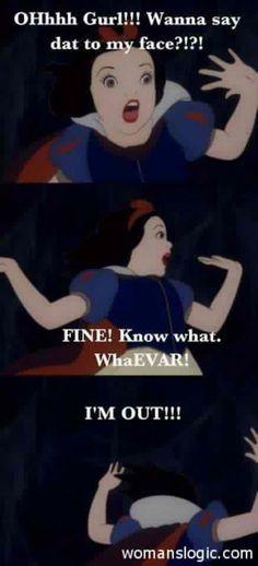 Snow white found the attitude!