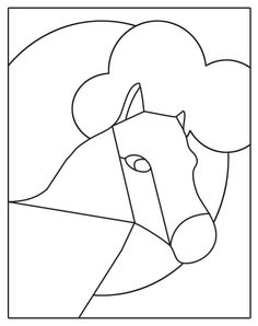 easy stained glass patterns | stained glass patterns for free: stained glass patterns horse Stained Glass Patterns, Mosaic Patterns, Colored Glass, Farm Animals, Tiffany, Craft Ideas, Drawings, Simple, Easy