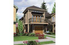 Houseplan 2559-00204 Narrow House Designs, Narrow Lot House Plans, Best House Plans, House Layout Plans, Craftsman Style House Plans, House Layouts, Townhouse Exterior, Loft, Lakefront Homes