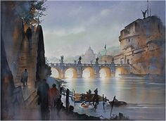 ponte sant'angelo by Thomas W. Schaller Watercolor ~ 22 inches x 30 inches