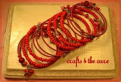 Red and Faded Red Memory Wire Wrap Bracelet,Unique One of a Kind Creations offered by crafts4thecure on etsy #crafts4thecureonetsy