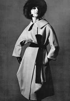 Model in fold over evening coat belted high by Lanvin-Castillo, photo by Pottier, 1960