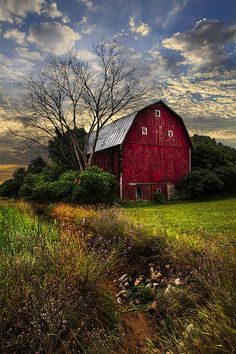 The Big Red Barn Art Print by Debra and Dave Vanderlaan. All prints are professionally printed, packaged, and shipped within 3 - 4 business days. Choose from multiple sizes and hundreds of frame and mat options. Farm Barn, Old Farm, Cabana, Country Barns, Country Life, Country Living, Country Roads, Country Houses, Country Charm