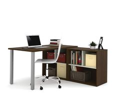 i3 by Bestar L-Shaped desk in Tuxedo and Sandstone 150873-78