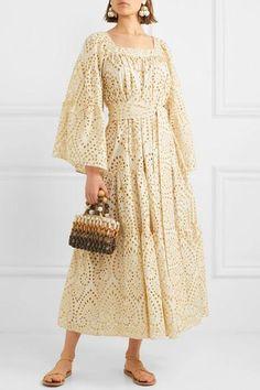 Cream and gold broderie anglaise cotton Slips on cotton Dry clean Pretty Outfits, Pretty Dresses, Beautiful Dresses, Eyelet Dress, I Dress, Hijab Fashion, Fashion Dresses, Mode Kimono, Dress Brokat