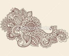 Henna Mehndi Tattoo Doodles Vector Design Elements by blue67 - Stock Vector